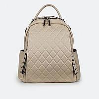 Стильный сумка-рюкзак  женский кожаный бежевый 77258 средний 31*27*9