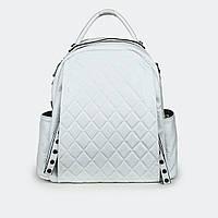 Городской сумка-рюкзак  женский кожаный белый 77258 средний 31*27*9