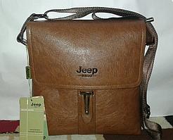 Чоловіча сумка через плече Jeep SL-S-8 коричнева, еко-шкіра, регулювання ременя, 5 відділень