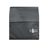 Чоловіча сумка через плече Polo D-03/09 чорна, еко-шкіра, прямокутна, регулювання ременя, Сумка через плече