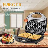 Вафельница HAEGER HG-226 для бельгийских вафель, 750 Вт, антипригарное покрытие