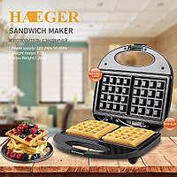 Вафельниця HAEGER HG-226 для бельгійських вафель, 750 Вт, антипригарне покриття