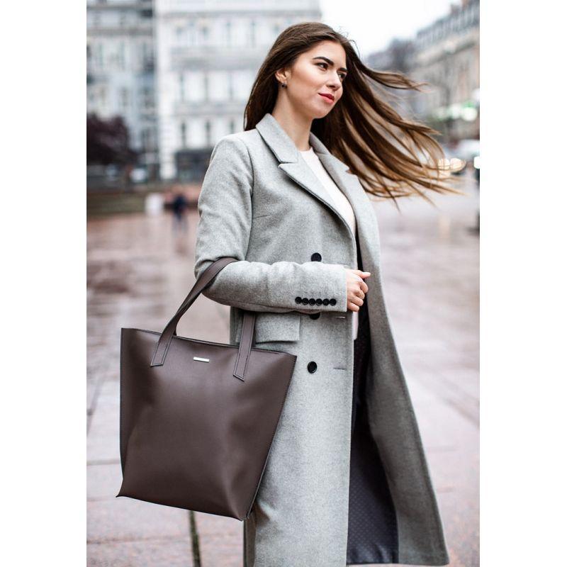 Кожаная женская сумка шоппер D.D. темно-бежевая