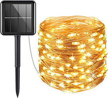 Гирлянда роса Copper Solar 100WW-5 уличная с аккумулятором и солнечной панелью10м (Теплый Белый)