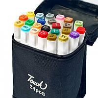 Набір скетч маркерів для малювання Touch Sketch 24 шт двосторонні фломастери білий корпус