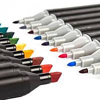 Набір скетч маркерів для малювання Touch Sketch 24 шт двосторонні фломастери чорний корпус