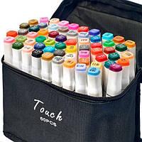 Набор скетч маркеров для рисования Touch Sketch 60 шт двусторонние фломастеры белый корпус
