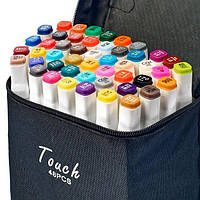 Набор скетч маркеров для рисования Touch Sketch 48 шт двусторонние фломастеры белый корпус