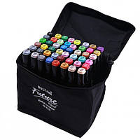 Набір скетч маркерів для малювання Touch Sketch 48 шт двосторонні фломастери чорний корпус