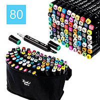 Набор скетч маркеров для рисования Touch Sketch 80 шт двусторонние фломастеры черный корпус