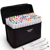Набір скетч маркерів для малювання Touch Sketch 80 шт двосторонні фломастери білий корпус