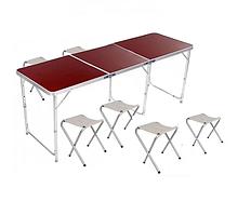 Великий туристичний розкладний стіл для пікніка з 6 стільцями