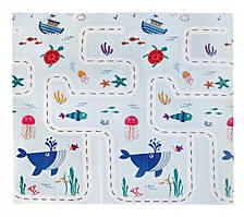 """Дитячий розвиваючий килимок ігровий складаний термоковрик двосторонній 2*1,8 м """" Кит """""""