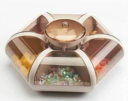 Вращающаяся тарелка для закусок фруктов и сладкого Snack-box Combination Fruit Plate 1 ярус 7отсеков