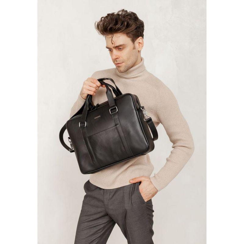 Шкіряна сумка для ноутбука і документів чорна