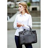 Шкіряна сумка для ноутбука і документів чорна, фото 9