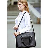 Шкіряна сумка для ноутбука і документів чорна, фото 10