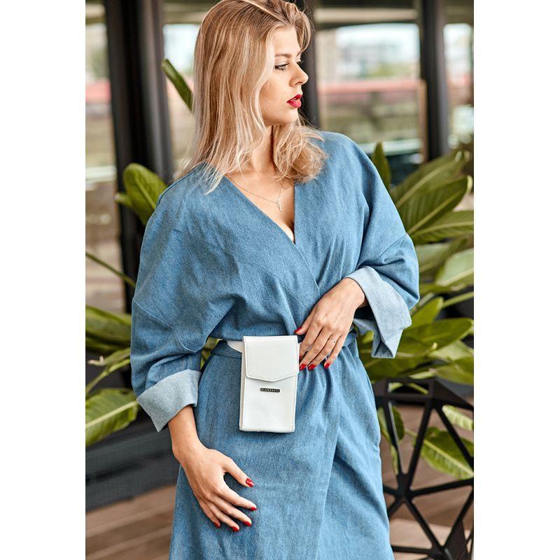 Вертикальна жіноча шкіряна сумка поясна/кроссбоди Mini біла