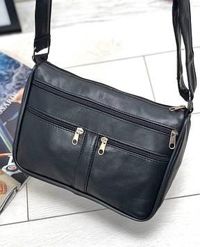 Женская черная сумка натуральная кожа код 22-110
