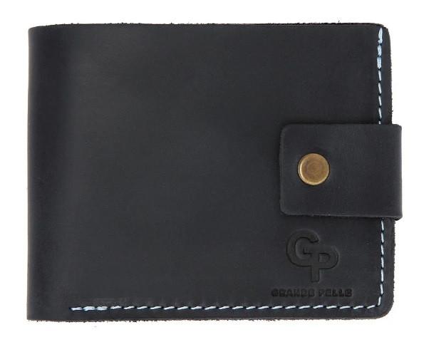Мужское портмоне Grande Pelle из натуральной кожи, кошелек для купюр, карточек и монет, синий и голубой цвет