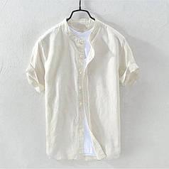 "Мужская рубашка ""SUMMER MUST HAVE"" с коротким рукавом из лёна молочная"