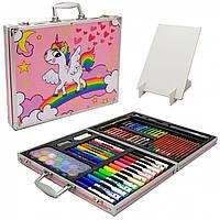 Дитячий набір для творчості з мольбертом, 120 предметів, фарби, фломастери, олівці, крейда і т. д.