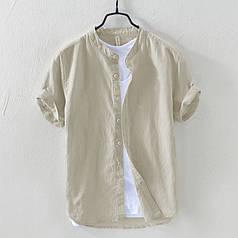 Мужская летняя рубашка с коротким рукавом из лёна бежевая