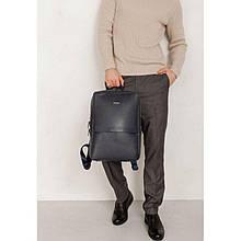 Темно-синій шкіряний чоловічий рюкзак Foster