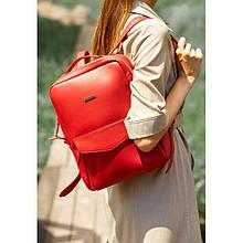Кожаный городской женский рюкзак на молнии Cooper красный