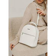 Шкіряний жіночий міні-рюкзак Kylie білий флотар