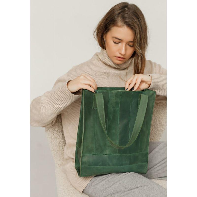 Шкіряна жіноча сумка шоппер Бетсі зелена