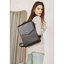 Шкіряний рюкзак міський вугільно-чорний