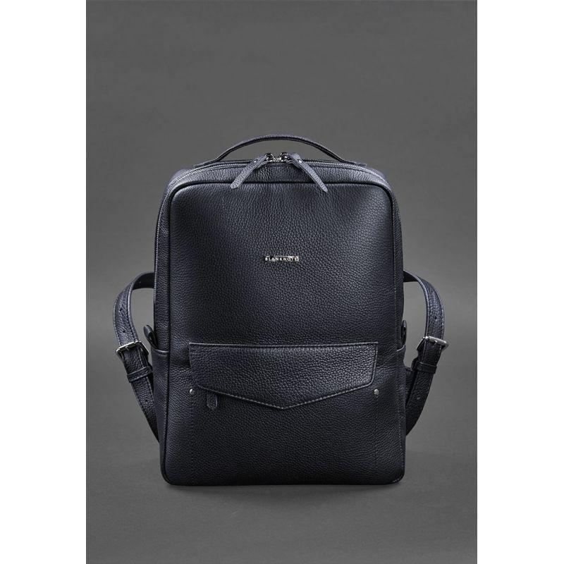 Кожаный городской женский рюкзак на молнии Cooper темно-синий флотар