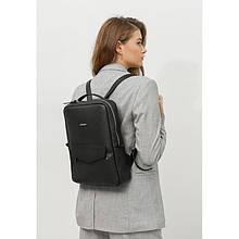 Шкіряний жіночий міський рюкзак на блискавці Cooper чорний флотар