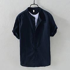 Летняя мужская рубашка с коротким рукавом из лёна черная