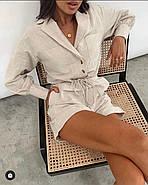Комбінезон шортами з довгим рукавом, відкладний комір, 00976 (Бежевий), Розмір 42 (S), фото 4