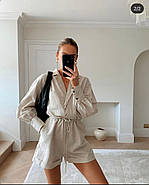 Комбінезон шортами з довгим рукавом, відкладний комір, 00976 (Бежевий), Розмір 42 (S), фото 5