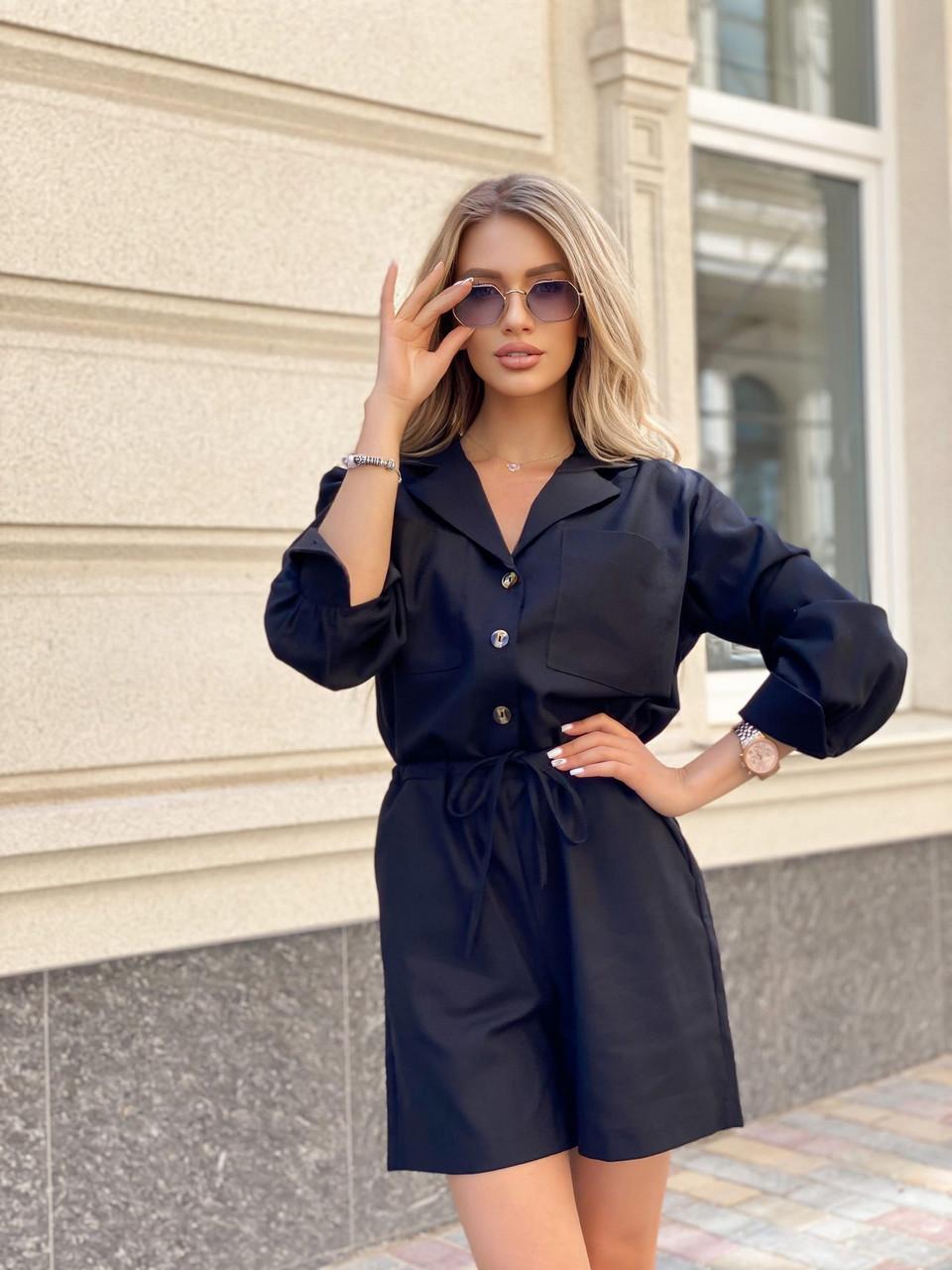 Стильный комбинезон женский шортами на пуговицах, с длинным рукавом, 00978 (Черный), Размер 48 (XL)