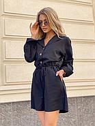 Стильный комбинезон женский шортами на пуговицах, с длинным рукавом, 00978 (Черный), Размер 48 (XL), фото 2