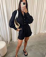 Стильный комбинезон женский шортами на пуговицах, с длинным рукавом, 00978 (Черный), Размер 48 (XL), фото 3