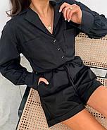 Стильный комбинезон женский шортами на пуговицах, с длинным рукавом, 00978 (Черный), Размер 48 (XL), фото 4
