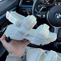 Модні спортивні босоніжки Dior білі текстильні | Зручні відкриті літні сандалі Діор, фото 1