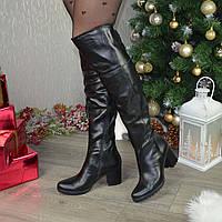 """Ботфорты кожаные демисезонные на каблуке от производителя ТМ """"Maestro"""""""