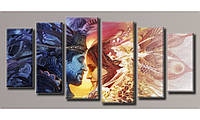 Модульная картина День и ночь 70х151,5 см (Картины на холсте в подарок на день рождение, постеры, фотокартина)