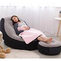 Надувне велюр-крісло з пуфом і підсклянником 130*99*76 см Іntex 68564