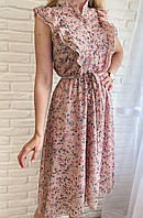 Летнее платье миди  на  резинке с красивым принтом
