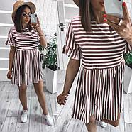 Платье короткое женское свободного кроя в полоску, 00982 (Мокко), Размер 42 (S), фото 2