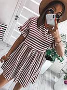 Платье короткое женское свободного кроя в полоску, 00982 (Мокко), Размер 42 (S), фото 3