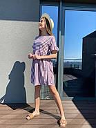 Платье короткое женское свободного кроя в полоску, 00982 (Мокко), Размер 42 (S), фото 5