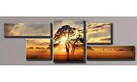 Модульная картина Дерево на закате 49х151 см (Картины на холсте в подарок, постеры, фотокартина, Триптих)